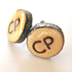 (cute idea for groom or groomsman gift)Monogram Cufflinks Personalized Cufflinks by EndGrainWoodShoppe, $15.00