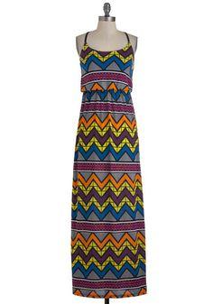 A Touch of Glass Dress - Multi, Print, Casual, Maxi, Spaghetti Straps, Summer, Multi, Neon, Long