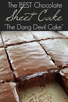 The BEST chocolate Texas sheet cake recipe that's as velvety tender as petit fours and so sinfully addictive youll call it the devil! The post The Best Chocolate Sheet Cake appeared first on Win Dessert. Sheet Cake Recipes, Cookie Recipes, Dessert Recipes, Recipe Sheet, Quick Dessert, Recipe Recipe, Sin Cake Recipe, Large Sheet Cake Recipe, Texas Sheet Cake Brownies Recipe