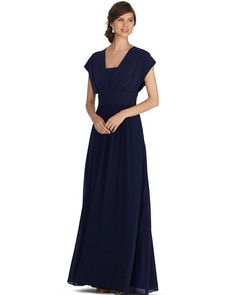White House | Black Market Genius Chiffon Convertible Navy Bridesmaid Gown #whbm