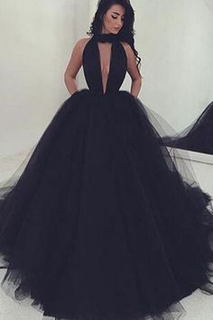 Black organza V-neck sexy A-line long prom dresses,evening dresses