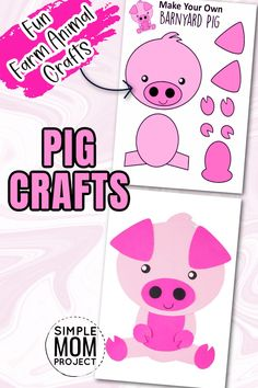 Watch the excitement on your toddlers face when you share these amazing farm animal crafts. This simple cut and paste pink pig craft comes complete with free printable template and easy to follow step by step instructions. Your kids will create new farm animal crafts in no time at all with this free printable pig craft, so come visit our site for your templates, then share your pics on this pin - I'd love to see your finished pig crafts today!