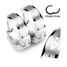 High Polished Surgical Stainless Steel Huggie Hoop Earrings with 5 Star Design (Hinged Snap) (Length: 14MM Width: 4MM) by Inspirelista -- Awesome products selected by Anna Churchill