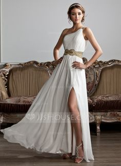 A-Line/Princess One-Shoulder Floor-Length Chiffon Prom Dress With Ruffle Beading Sequins Split Front (018020706) - JJsHouse