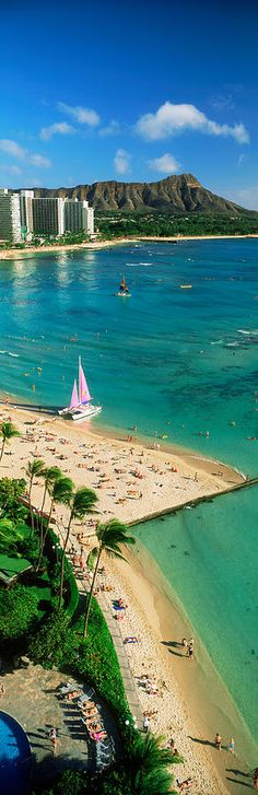Diamond Head, Waikiki Beach, Oahu, Honolulu, Hawaii, USA