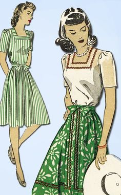 1940s Vintage Du Barry Sewing Pattern 5618 Misses WWII Skirt & Blouse Sz 14 32B