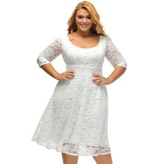 Floral Lace Sleeved Fit and Flare Curvy Dress,Plus Size Dresses,Sexy Curvy Dresses,Big Girl Dress,Plus Lace Dresses Lace Summer Dresses, Lace Party Dresses, Women's Evening Dresses, Sexy Dresses, Casual Dresses, Plus Size Skater Dress, Plus Size Dresses, Robe Swing, Swing Dress