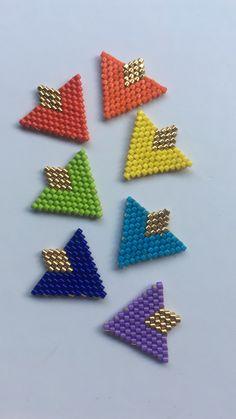 Loom Bracelet Patterns, Beaded Earrings Patterns, Bead Loom Patterns, Beading Patterns, Seed Bead Jewelry, Bead Jewellery, Brick Stitch Earrings, Embroidery Jewelry, Bijoux Diy