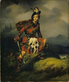 Allan M'Aulay by Horace Vernet, The subject is derived from chapter V of Walter Scott's novel 'A Legend of Montrose' Scottish Dress, Scottish Fashion, Irish Fashion, History Images, Art History, Men In Kilts, Scottish Clans, Art Uk, Celtic Designs