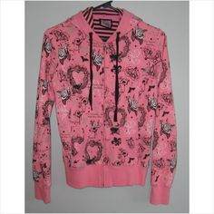Hooded pink jacket with flowers & hearts, Size-Medium