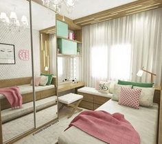 A beautiful interior from Small Room Bedroom, Room Decor Bedroom, Girls Bedroom, Bedrooms, Small Rooms, Small Space, Bedroom Ideas, Teenage Room, Girl Bedroom Designs