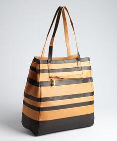 443020452146 Pour la Victoire cognac striped leather  Pissa  tote