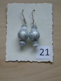 Sterling Silver Earrings with grey small cats eye glass beads and silver grey/silver larger beads