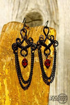 Gothic earrings Wire wrapped Hand made Black wire
