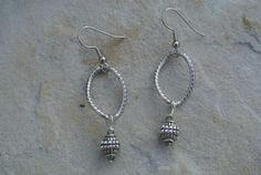 Antique Silver Dangle Earrings with Blue Crystal Accent
