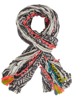 Multi coloured pompom scarf