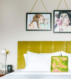 hanging artwork over yellow velvet headboard inside hotel clermont. Butter London Fruit Machine, Velvet Headboard, Pink Slides, Hanging Artwork, Pink Rug, Home Decor Inspiration, Decoration, House Colors, Interior Styling