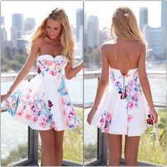 Strapless Backless Sleeveless Print Short Dress