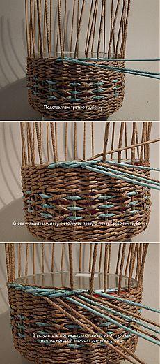 Интересная концовка плетения корзины, загибка. Плетение из газет-МК.