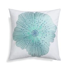 Full-bloom petal splashes refreshingly cool, summery color on crisp white cotton, enhanced with embroidered details of its up-close interior.  Pillow reverses to solid white. 100% cotton base and lining100% rayon embroidery100% cotton base and liningDry clean onlyCover made in IndiaDown-alternative insert: 100% polyester fill (made in China)Feather insert: 100% duck feather (made in USA of imported materials)Made in multiple countries.