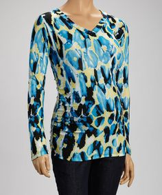 Blue & Yellow Ruched Maternity V-Neck Top #zulily #zulilyfinds