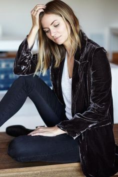Velvet Tux Jacket - Muted Aubergine