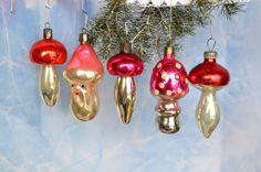Vintage Christmas Ornament, mushroom ornament, Antique Christmas decoration decor, Christmas ornament of Glass, USSR, Soviet Christmas