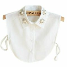 Women's Clothing, Tops & Tees, Blouses & Button-Down Shirts, Stylish Pearl Peter Pan Fake Collar Detachable Shirt Dickey False Collar - White - & Button-Down Shirts Unique Outfits, New Outfits, Grunge Outfits, Peter Pan, Understanding Women, Half Shirts, Collars For Women, Trendy Fashion, Womens Fashion