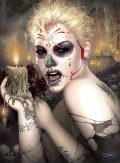 Tattoo Girl Face Art Dia De 34 Ideas Tattoo Girl Face Art Dia De 34 Ideas This image has. Sugar Skull Makeup, Sugar Skull Art, Sugar Skulls, Sugar Skull Girl Tattoo, Girl Faces, Death Art, Day Of The Dead Skull, 1 Tattoo, Portraits