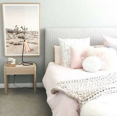 Teen Bedroom Design Ideas and Color Scheme Ideas and Bedding ideas and Decor for the walls Our blush button cushion in the home of /designdevotee/ Dream Bedroom, Home Bedroom, Girls Bedroom, Bedroom Decor, Bedroom Ideas, Bedroom Furniture, Girl Rooms, Decor Room, Bedroom Wall