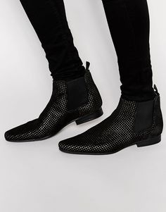 Image 1 of ASOS Chelsea Boots in Black Suede With Gold Perforation