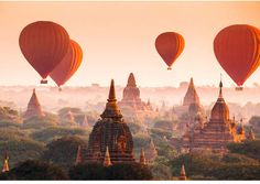 Brewster Wall Balloons over Bagan Wall Mural