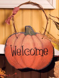 Harvest Pumpkin Slate Welcome Plaque