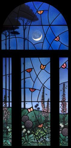 """""""Night Garden"""" stained glass panel by Brian James Waugh, Glasgow, Scotland Breathtaking! Stained Glass Door, Tiffany Stained Glass, Stained Glass Designs, Stained Glass Panels, Stained Glass Projects, Stained Glass Patterns, Leaded Glass, Beveled Glass, Tiffany Glass"""