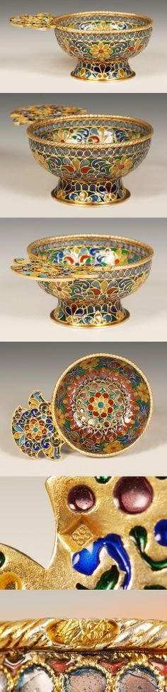 A Russian silver gilt and plique-a-jour enamel charka, Moscow, circa 1908-1917. The entire body and shaped flat handled decorated with an intricate scrolling multi-color plique-a-jour enamel floral pattern against a gilt ground, supported on a domed circular base.