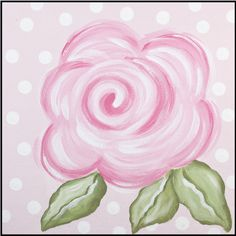 Pink Rose Imagination Square that started it all Hand Painted Canvas, Canvas Wall Art, Canvas Paintings, Mini Paintings, Kids Canvas, Canvas Ideas, Carousel Designs, Fabric Painting, Diy Painting
