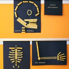 Halloween crafts for kids - pasta skeletons