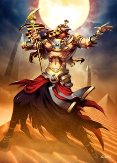 """Ra  by *GENZOMAN  Ra is the ancient Egyptian sun god.  In later Egyptian dynastic times, Ra was merged with the god Horus, as Re-Horakhty (""""Ra, who is Horus of the Two Horizons""""). He was believed to rule in all parts of the created world the sky, the earth, and the underworld. He was associated with the falcon or hawk. When in the New Kingdom the god Amun rose to prominence he was fused with Ra as Amun-Ra."""