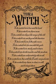 To be a witch poem poster, Amazing Wicca home decor in vintage Pagan style. Rustic and esoteric decoration for your house! Witchcraft Spells For Beginners, Healing Spells, Magick Spells, Wicca Witchcraft, Wicca For Beginners, Witchcraft Tattoos, Real Spells, Wiccan Protection Spells, Hoodoo Spells