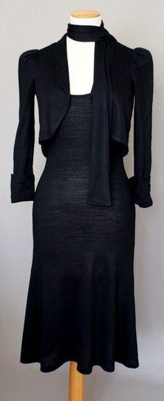 Biba, little black dress in jersey knit with short cut blazer.  Comfy!