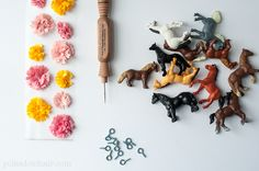 Make necklaces out of tiny plastic horses. Girls will love it!