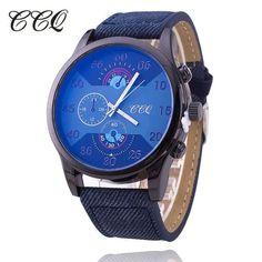 CCQ Fashion Leather Strap Men Watches Csual Male Big Dial Quartz Watch Sport Wrist Watch Relogio Masculino Gift 1587