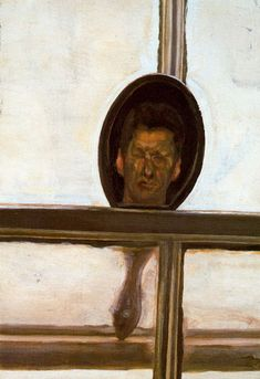 Interior with Hand Mirror (Self-Portrait) - Lucian Freud (British, 1922-2011)