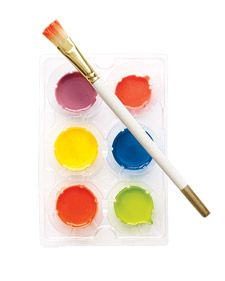Homemade watercolors: Baking soda, vinegar, corn syrup, cornstarch, food coloring.