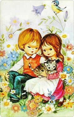 Jongen en een meisje tussen de bloemetjes.,..   met een jong poesje....   ern het vogeltje fluit een liedje.