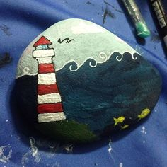 #lighthouse #sea #fish #cloud #handmade
