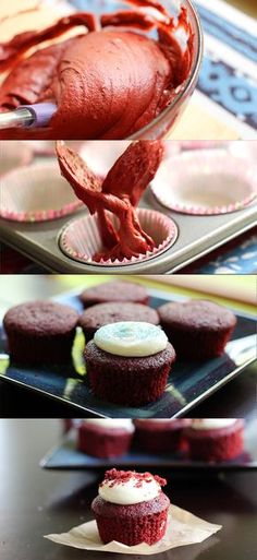 A simple, delicious recipe for red velvet cupcakes from scratch.