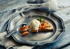 Country morning: apricot & peach galette with vanilla ice cream