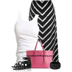 Black and white summer outfit.with a pop of color pink purse.  So cute. Chevron Striped Maxi Skirt