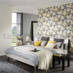 home sweet home dekorácie - Hľadať Googlom Yellow Gray Bedroom, Grey Yellow, Yellow Rooms, Bedroom Color Schemes, Bed Styling, Coordinating Colors, Modern Bedroom, Sweet Home, New Homes